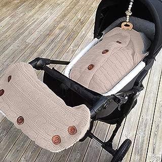 KKING Infants Baby Wrap Swaddle Sherpa Blankets with Stroller Fleece Hand Muff, Newborn Knit Sleeping Bag Receiving Blankets Stroller Wrap for Toddler Girls Boys (Beige)