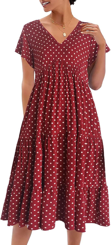 Yukiwi Women Tiered Midi Ruffle Dress Polka Dress Loose Swing Dress V-Neck Shift Dress Summer Short Sleeve Casual Dress
