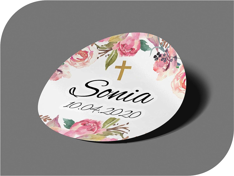 CrisPhy Pegatinas Personalizadas Comunion o Bautizo con Nombre y Fecha, Etiquetas Adhesivas para Invitacion Boda, Compromiso, Cumpleaños, Fiesta, Vintage, Sellos (Modelo 5)
