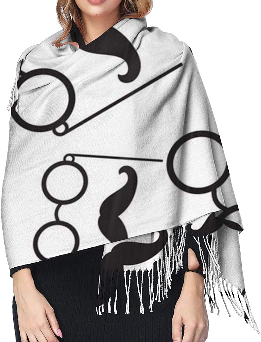Glasses And Mustache Cashmere Shawl Wrap Scarf Large Warm Scarf For Women