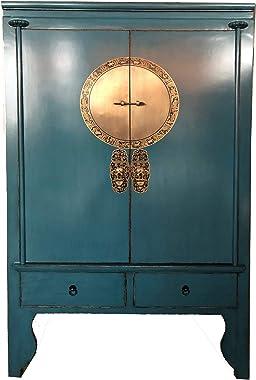 Opium-Outlet Armoire de Mariage Chinois Bleu Meuble Chambre Asiatique Antique de la Chine en Bois