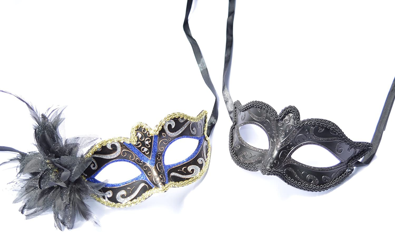 His & Hers  Black & Royal bluee Venetian Masquerade Masks for Couples