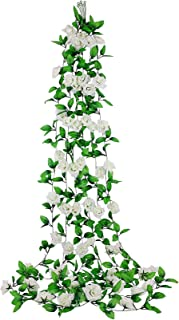 Ivy Artificial Flowers, Dedoot Pack of 6 (98 Inch Each) Ivy Garland Rose Vine Fake Silk Flowers Hanging Rose Ivy Plants for Wedding Party Home Garden Wall Decor, White