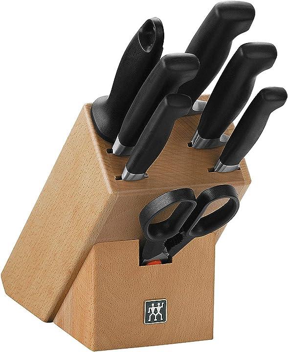 Set di coltelli con ceppo, acciaio inossidabile, marrone, 8 pezzi zwilling vier sterne 1007023