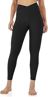 "ODODOS Women's Cross Waist Yoga Leggings with Inner Pocket, Sports Gym Workout Running Pants -Inseam 25"" /28"""