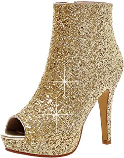 Kikiva Womens Glitter High Heel Stiletto Peep Toe Ankle Boots Side Zip  Wedding Booties 2a342af60b09