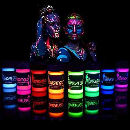 Midnight Glo Black Light Face and Body Paint (Set of 8 Bottles 0.75 oz. Each) - Neon Fluorescent Paint Safe On Skin, Washable, Non-Toxic