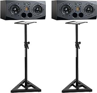 Adam A77X - Monitor de estudio (18 cm, incluye trípode Pronomic (450 W pico, 500 W RMS rango de frecuencia: 38 Hz - 50 kHz, subwoofer de carbono), color negro