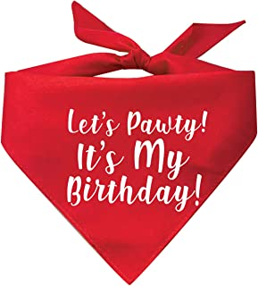 My Dog Bandana Lets Pawty! Its My Birthday! Printed (Assorted Colors)