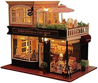 Rylai 3D Puzzles Miniature Dollhouse DIY Kit Romantic Cafe Series Dolls Houses Accessories with Furniture Music Box Light