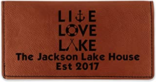 Live Love Lake Leatherette Checkbook Holder - Single Sided (Personalized)
