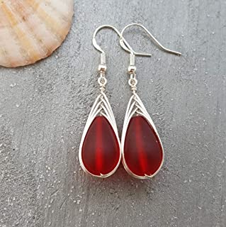 """Handmade jewelry from Hawaii, wire braided Ruby red sea glass earrings,""""July Birthstone"""", (Hawaii Gift Wrapped, Customizable Gift Message)"""
