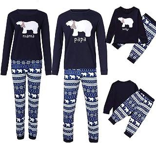 Family Pajamas Set 2 PCS Women Men Kids Small Bear Top+Snowflake Pants