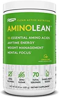 RSP AminoLean - All-in-One Pre Workout, Amino Energy, Weight Management Supplement with Amino Acids, Complete Preworkout Energy for Men & Women, Lemon Lime, 70 (Packaging May Vary)
