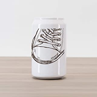 Ambesonne Doodle Cola Can Shape Piggy Bank, Sneakers in Hand Drawing Style Casual Footwear Teenager Urban Lifestyle Theme, Ceramic Cola Shaped Coin Box Money Bank for Cash Saving, Dark Brown White