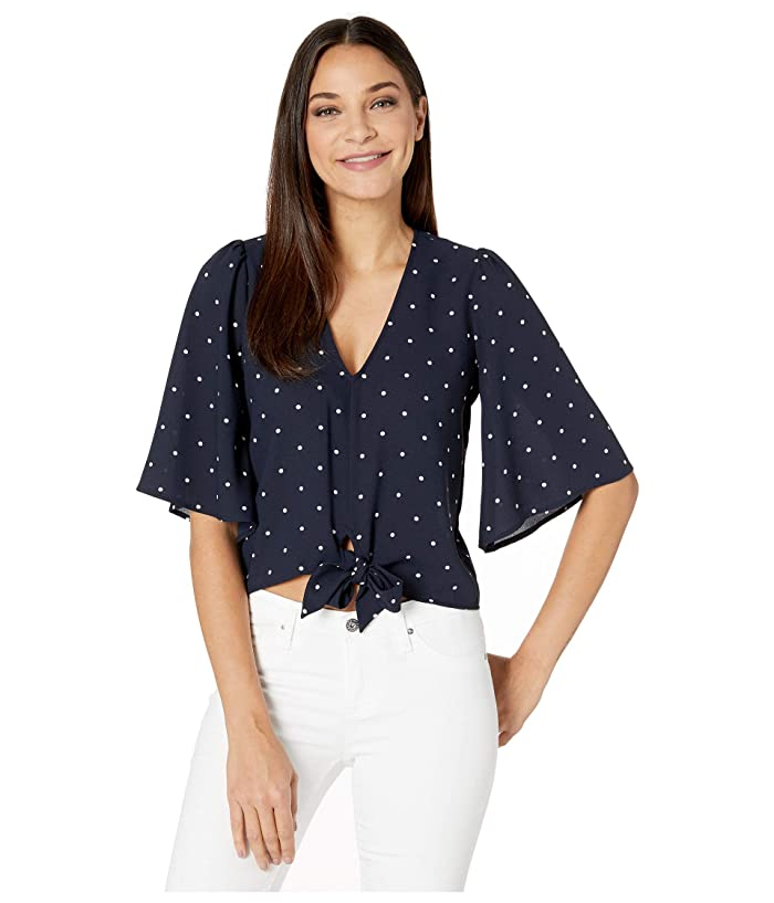 1.STATE  Flounce Sleeve V-Neck Moonlit Polka Blouse (Blue Night) Womens Clothing