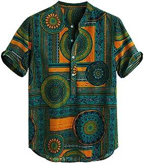 Men Short Sleeve Print Shirt, Male Cotton Linen Printed Casual Henley Shirts Tie Summer T-shirt Blouse Tunic Tops