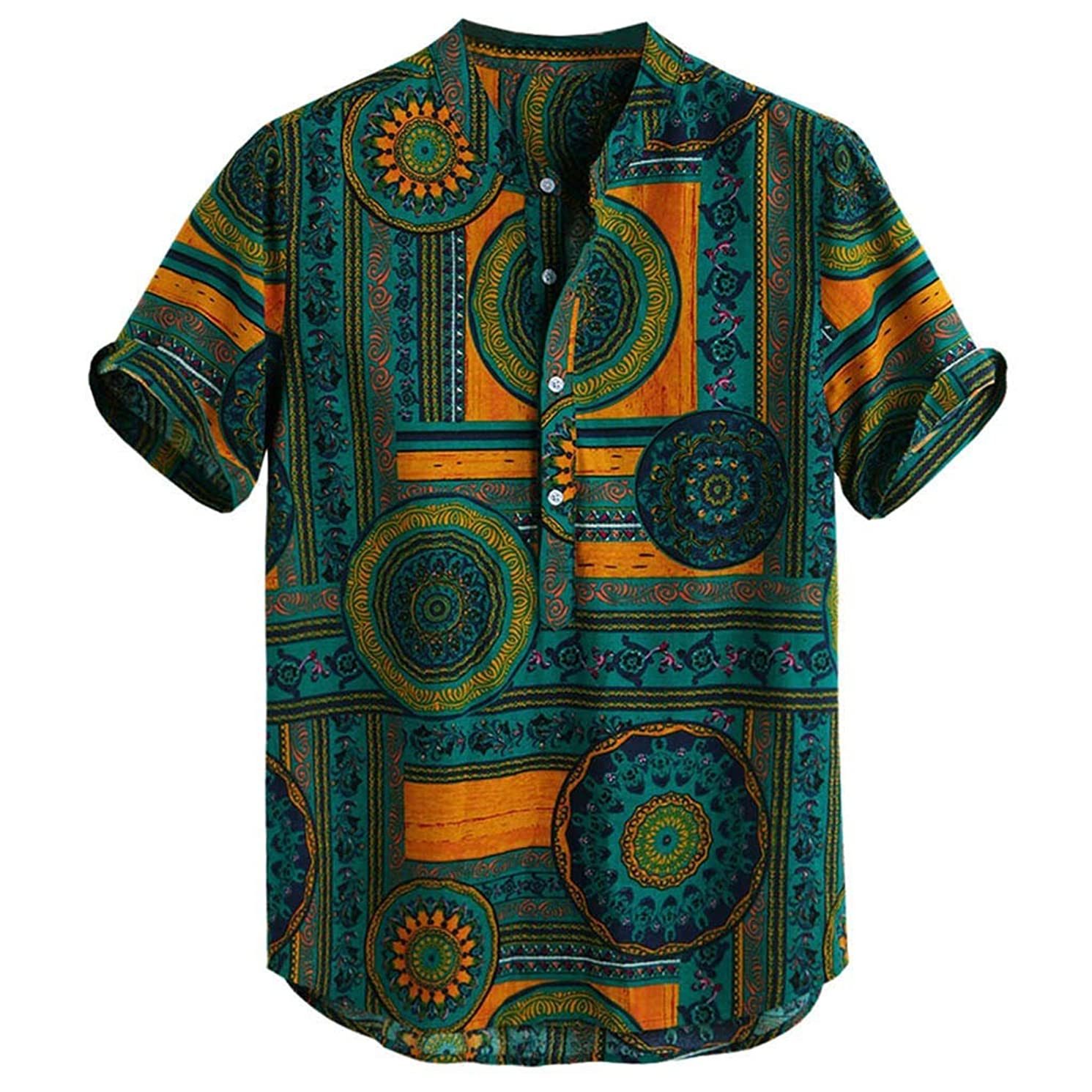 Swyss Men's Casual Short Sleeve Henley T-Shirts Ethnic Style Printed Baggy Summer Beach Shirts Tops