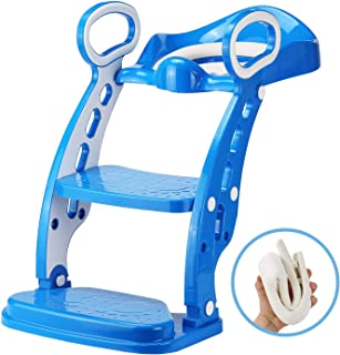 Potty Toilet Trainer Seat - Adjustable Sturdy Non-Slip Step Stool Ladder, with Base Foot Board, Apply to Higher Toilet for Toddler Potty Training (Bule)