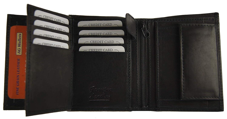 AGウォレットメンズ牛革レザーLarge European三つ折り財布ヒップスター(ブラック)