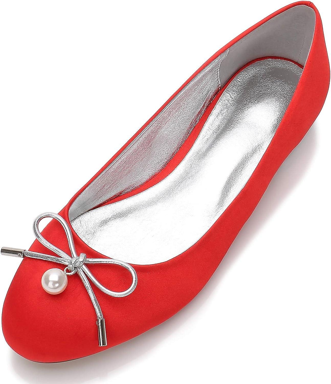 MGEM Women's Ladies Inexpensive Wedding Shoes Closed Ballet famous Satin B Flat Toe