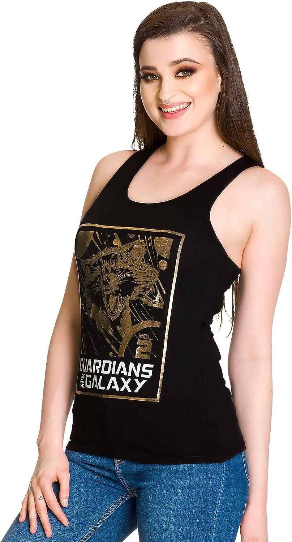Camiseta sin Mangas de Chica de Guardianes de la Galaxia Vol 2 Rocket Raccoon Negro algod/ón