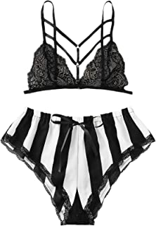 SOLY HUX Women's Plus Size Floral Lace Cami Top with Satin Shorts Sleepwear Pajama Set