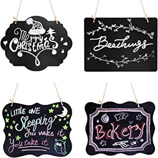 VSADEY 4 Pack Chalkboard Sign Hanging, Double-Sided Erasable Message Board, Small Hanging Liquid Chalkboard Signs with Hanging String for Wedding, Bar, Cafe, Restaurant