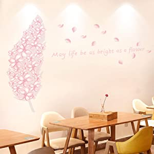 Cherry Blossom Feather Home Kitchen Room Decor Romantic Flowers Wall Decal Cherry Blossom Tree Wall Stickers Girl Bedroom Decor for Kids Bedroom Living Room Offices Bathroom
