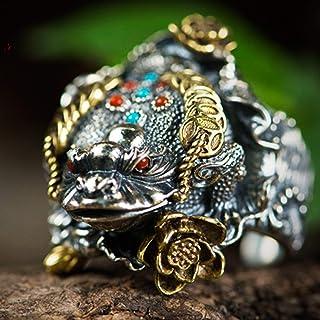 خاتم رجالي قابل للتعديل مقاس خاتم S925 من الفضة الاسترلينية، لن يتسبب الاستخدام في الحساسية مضاد للصدأ (اللون: فضي، المقاس...