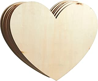 Unfinished Wood Cutout - 6-Pack Heart-Shaped Wood Pieces for Wooden Craft DIY Projects,  Signs,  Wedding Decoration,  11.56 x 9.8 x 0.188 inches