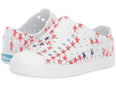 Native Kids Shoes Jefferson Stars and Stripes Print (Toddler/Little Kid) (Shell White/Shell White/Little Star) Kid