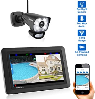 CasaCam VS1001 Wireless Security Camera System with AC Powered HD Spotlight Cameras and 7 Touchscreen Monitor (Spotlight 1-cam kit)