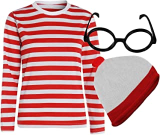 Childrens Kids Boys Girls Red White T Shirt Hat Glasses Book Week Fancy Dress Costume (4-6 years, T Shirt Hat & Glasses) by Blue Planet Online