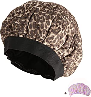 Locisne Cordless Deep Conditioning Thermal Heat Cap, Microwavable Steaming Haircare Mask Therapy, Oil Treatments, Flaxseed Seed Interior for Maximum Heat Retention, Soft Natural Plush Cotton (Leopard)
