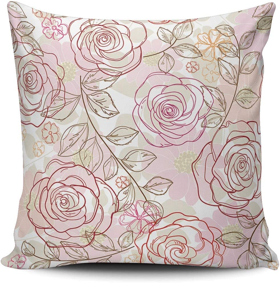 Healbrighting Art Ranking TOP1 Beautiful Rose Baltimore Mall Flower Square Pillow Covers Hom