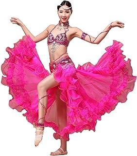 Bauchtanz Kostüm Kleid BH Gürtel Rock Tanzen Flamenco Röcke Kleider Frauen Kleidung Zigeuner Langarm Tops BH Bund Maxi Rock Anzug Sexy Bauch Kleidung Kleid