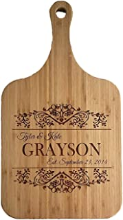 Personalized Engraved Cutting Board (Grayson Design) with Handle Housewarming and Wedding Gift for Kitchen (10 x 18 Bamboo Paddle Shaped)