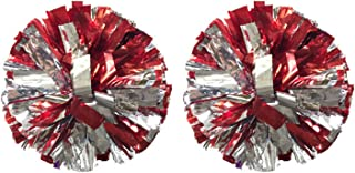Regpre 14 inch Cheerleader pom poms Cheerleading Red Siliver Cheer pom poms Metallic Foil with Ring for Cheering Squad 2 Pack