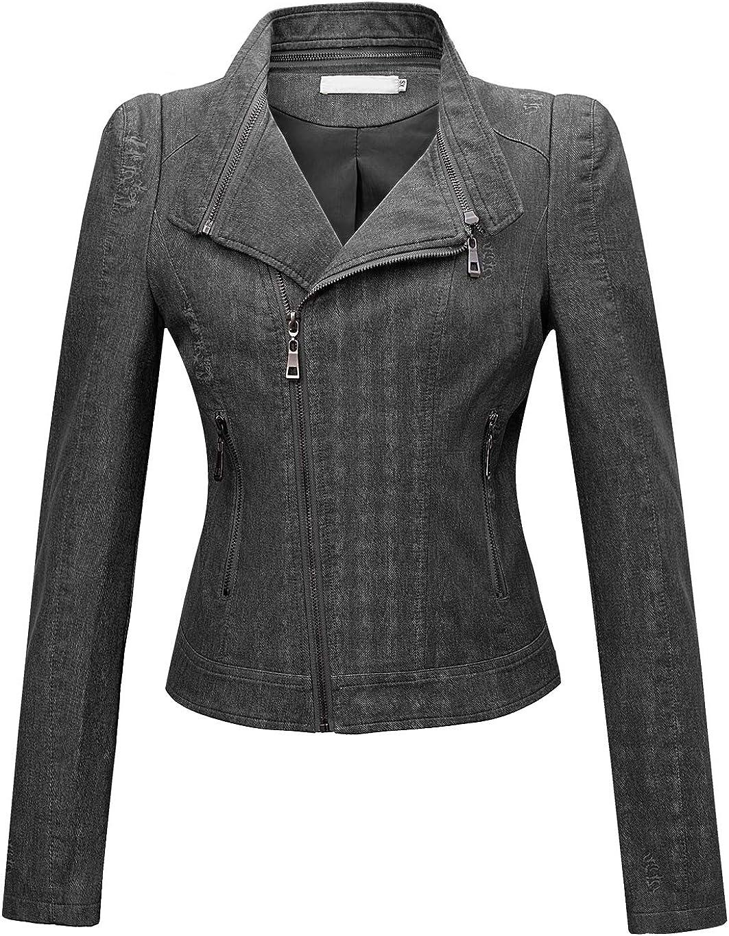 chouyatou Women's Denim-Performance Slim Asymmetric Zip Distressed Pu Leather Moto Biker Jacket