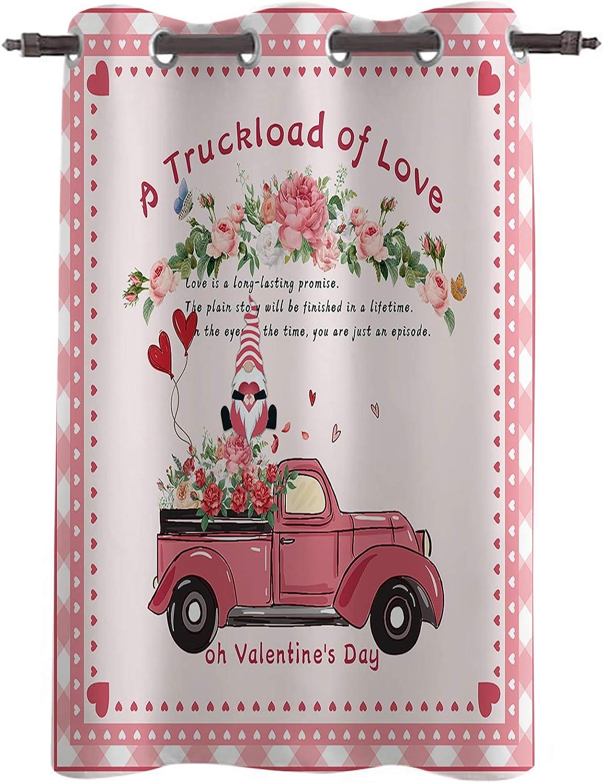 OneHoney Blackout Window Curtain Panel Valentine C Truck Large discharge Popular overseas sale of Love