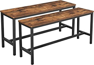 VASAGLE ALINRU Table Benches, Pair of 2, Industrial Style Indoor Benches, 42.5 x 12.8 x 19.7 Inches, Durable Metal Frame, for
