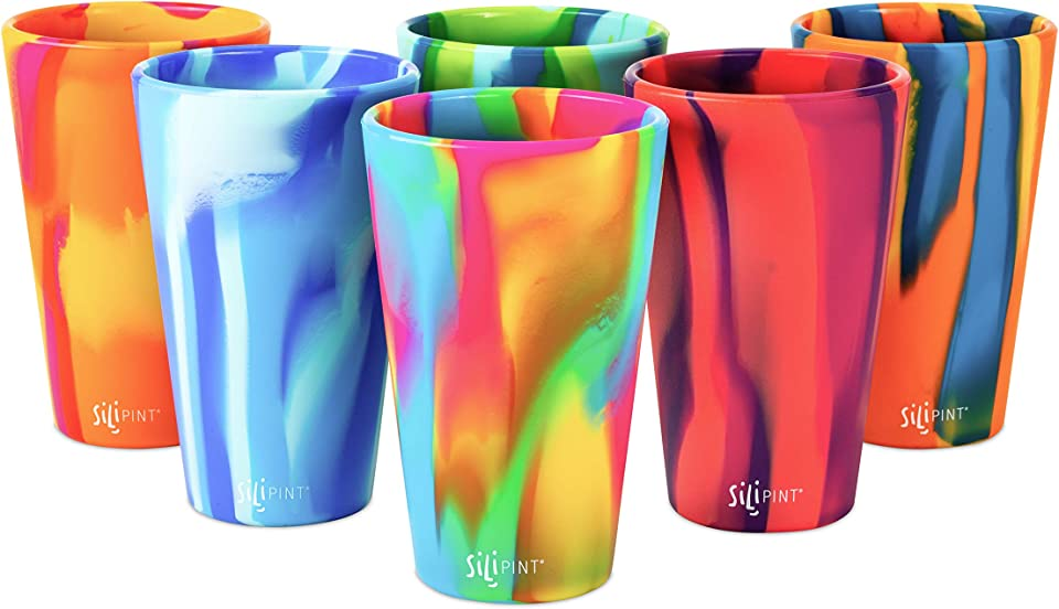 Silipint Silicone Pint Glass. Unbreakable, Reusable, Durable, and Guaranteed for Life. Shatterproof 16 Ounce Silicone Cups for Parties, Sports and Outdoors (6-Pack, Blaze Tie-Dye Variety)