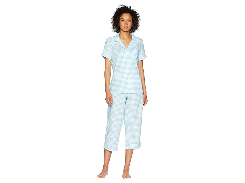 BedHead Short Sleeve Cropped Pants PJ Set (Aqua Almost Gingham) Women