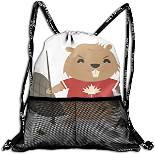 Drawstring Bag Beaver With Ice Hockey Stick And Puck Womens Gym Backpack Inspiring Mens Travel Canvas Bags For Girls