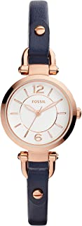 Fossil Women's Georgia Mini Stainless Steel and Leather Casual Quartz Watch