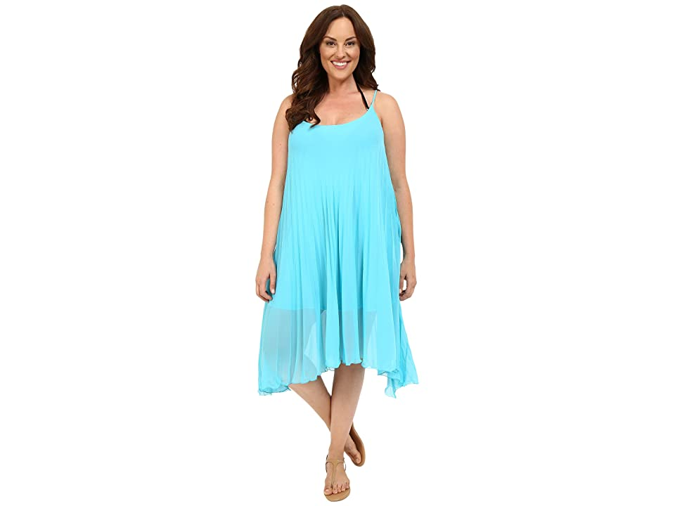 Bleu Rod Beattie Plus Size Over the Edge A-Line Pleated Dress Cover-Up (Island Blue) Women