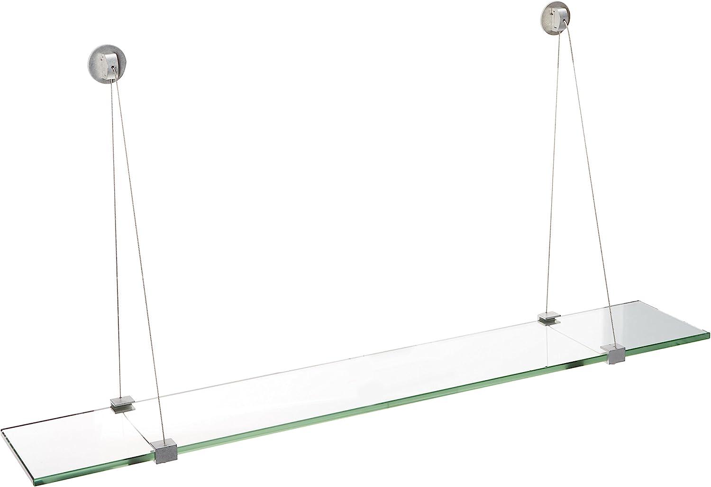 Spancraft オンラインショッピング Glass ご注文で当日配送 Crane Shelf Brushed 12 4.75 x Steel