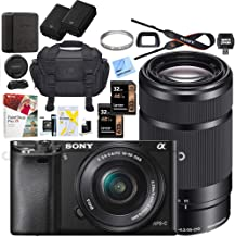 Sony Alpha a6000 Mirrorless Digital Camera with 16-50mm Lens Bundle with 55-210mm Zoom E-Mount Lens, 32GB Memory Card, Camera Bag, Paintshop Pro 2018, 40.5mm Filter and Camera Battery