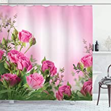 Ambesonne Flower Shower Curtain, Spring Season Time Roses with Leaves and Buds with Pink Ombre Atmosphere Image, Cloth Fabric Bathroom Decor Set with Hooks, 84 Long Extra, Pink Green